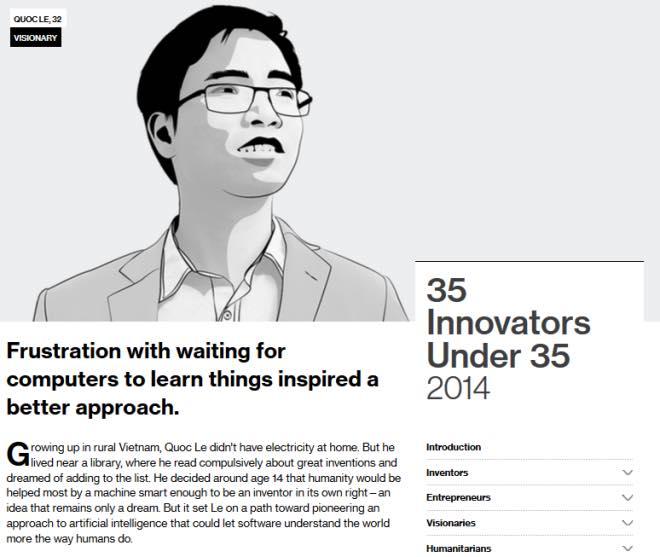 Một trong 35 nhà phát minh xuất sắc nhất Thế giới dưới 35 tuổi